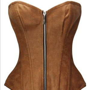 Women's FAUX LEATHER brown corset SMALL